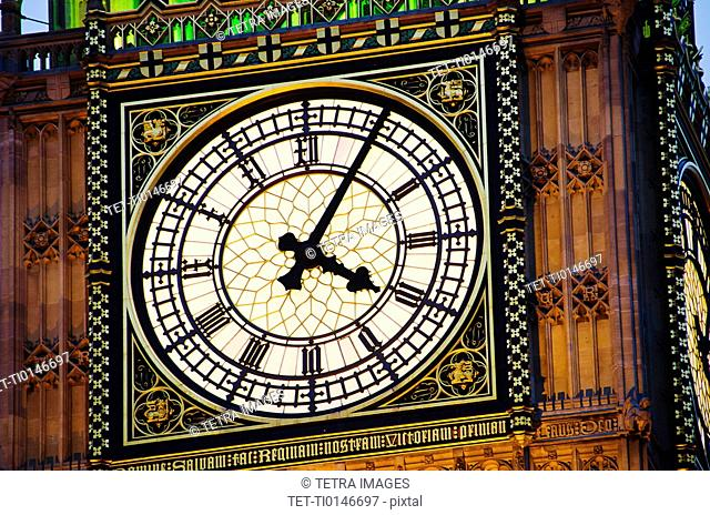 United Kingdom, London, Big Ben clock face illuminated at dusk