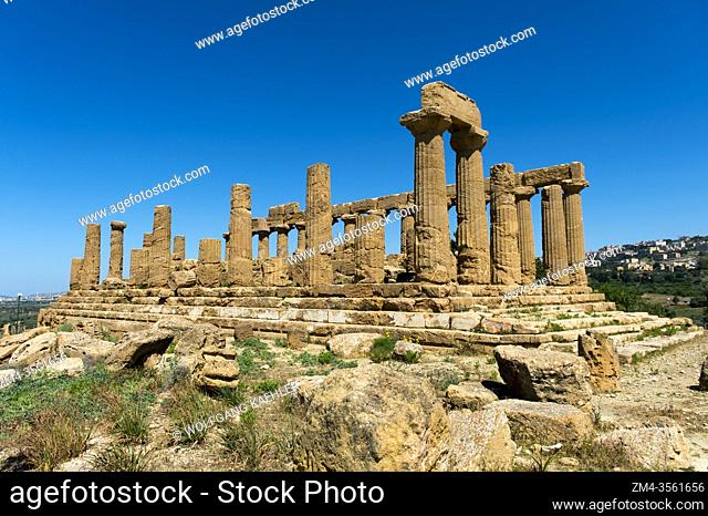 The Temple of Juno, also known as the Temple of Hera Lakinia, Juno being the Roman name of Hera, is a Greek temple of the ancient city of Akragas