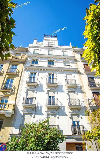 Facade of house. Salamanca district, Madrid, Spain