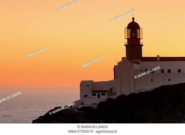 Lighthouse at Cabo de Sao Vicente at sunset, Sagres, Algarve, Portugal