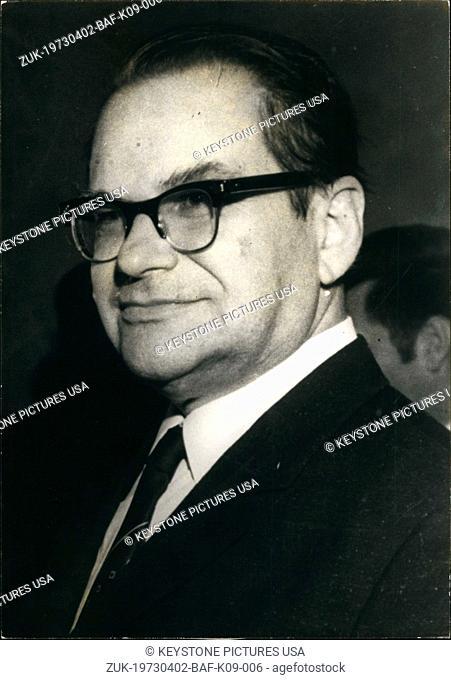 Apr. 02, 1973 - Mr Tchervonenko, Russian ambassador to France (Credit Image: © Keystone Press Agency/Keystone USA via ZUMAPRESS.com)