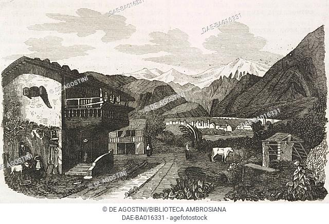 View of Brig, on the Simplon Pass road, Switzerland, engraving from L'album, giornale letterario e di belle arti, June 2, 1849, Year 16