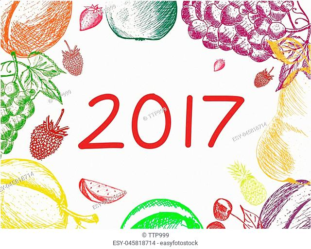 Cover calendar for 2017 on fruits background. Fruits hand made in sketch style. Vector illustration