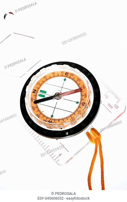 Compass close up and white background