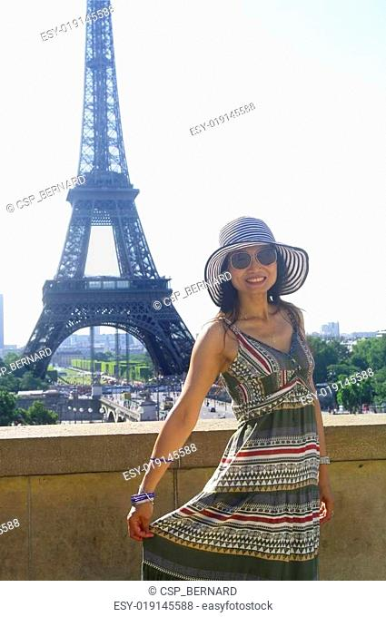 Woman and Eiffel Tower