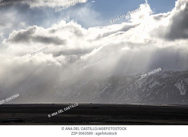 Winter landscape in Hvolsvöllur Iceland