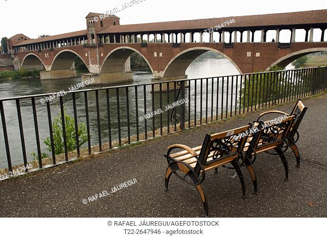 Pavia (Italy). Ponte Coperto or Old Bridge in the city of Pavia