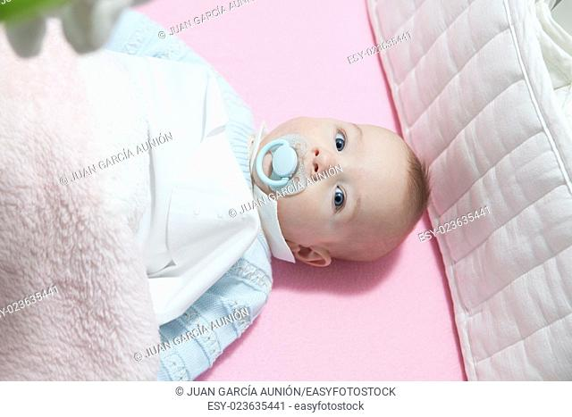 Awake four month baby boy lying in cot with bumper pad. Overhead view