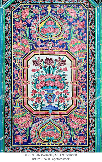 Finely decorated tiles on the wall of Nazir-al Molk Mosque (Masjed-e Nazir-al-Molk), Shiraz, Iran, Central Asia