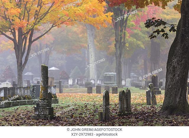 Autumn cemetery, Saco, Maine, USA