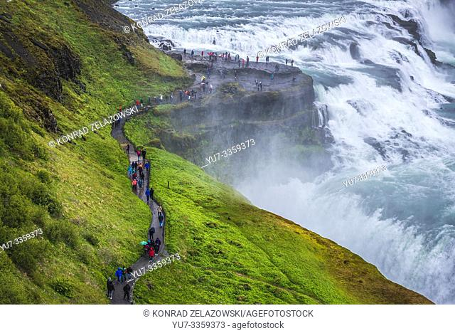 Path to Gullfoss waterfall in the canyon of the Hvita river in southwest Iceland