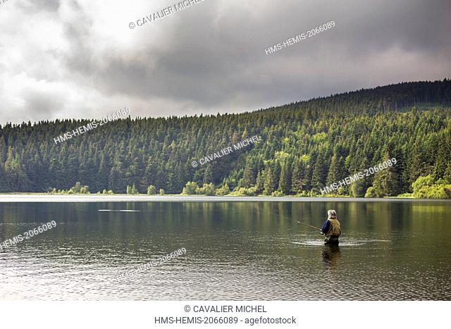 France, Puy de Dome, Parc Naturel Regional des Volcans d'Auvergne (Regional natural park of the volcanoes of Auvergne), fisherman on the lake of Servieres