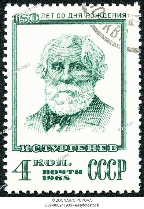 USSR - 1968: shows portrait of Ivan Sergeyevich Turgenev (1818-1883), Writer, 150th Birth Anniversary