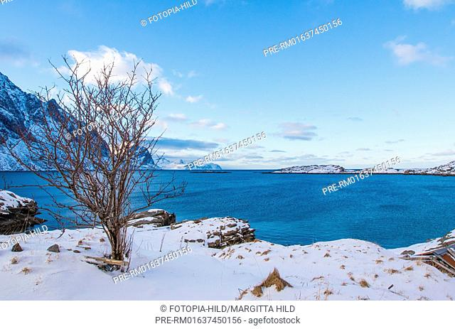 Looking on Mærvollspollen, Vestvågøy, Vestvågøya, Lofoten, Nordland, Norway, March 2017 / Blick auf Mærvollspollen, Vestvågøy, Vestvågøya, Lofoten, Nordland