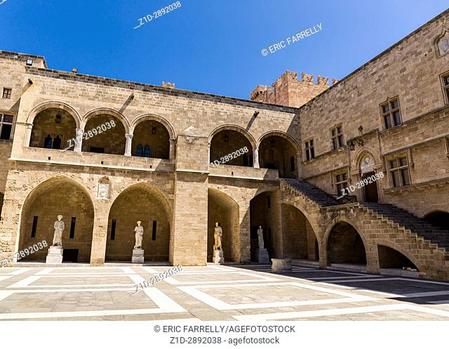 The courtyard of the Palace of the Grand Master of the Knights. Medieval castle in the old city of Rhodes, Greece