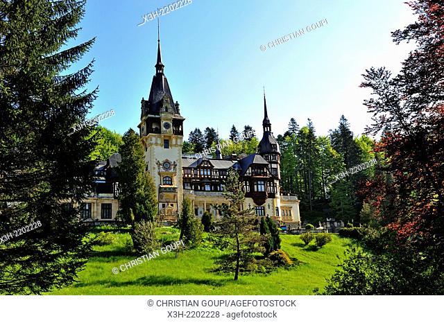 Peles Castle in the Carpathian Mountains near the mountain resort of Sinaia, Wallachia region, Romania, Southeastern and Central Europe