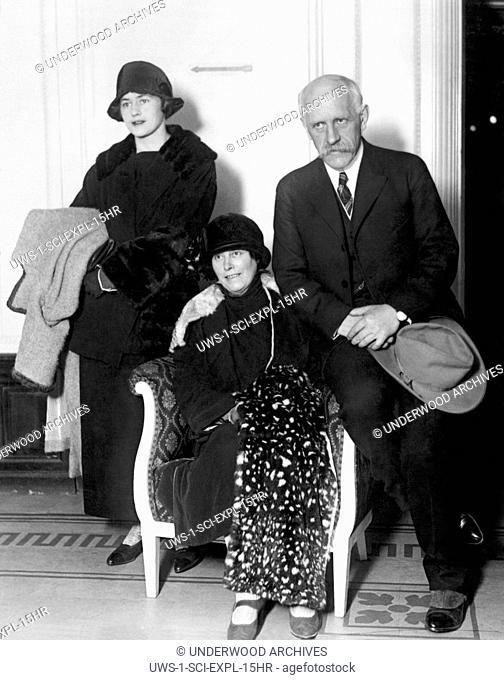New York, New York: November 2, 1923 Noted Norwegian Arctic explorer and Nobel Peace Prize winner Dr. Fridtjof Nansen as he arrives in the U.S