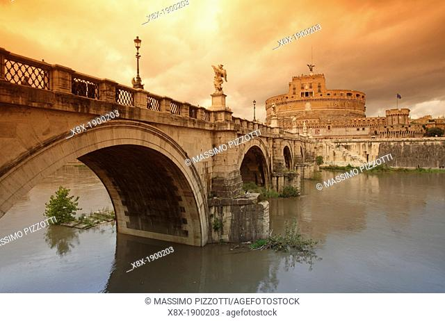 Castel Sant'Angelo Mausoleum of Hadrian, reflected in the Tevere river, Rome, Italy