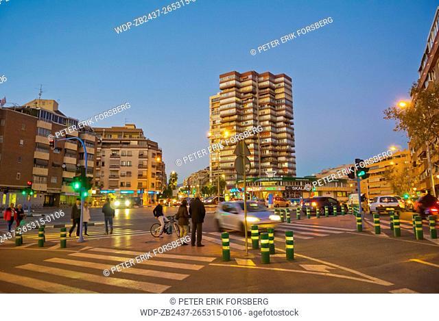 Junction of Presidente Adolfo Suarez and avenida de Beniarda streets, Benidorm, Alicante province, Marina Baixa, Costa Blanca, Spain