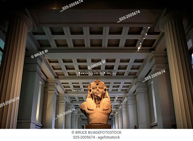 Colossal statue of Amenhotep III in Department of Ancient Egypt and Sudan. London. England. United Kingdom