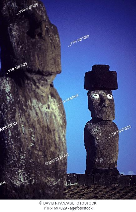 Chile, Easter Island, A Moai with top knot at Tahai