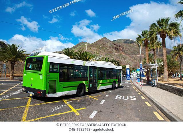 Bus 910 at Playa de las Teresitas beach San Andres town Tenerife island the Canary Islands Spain Europe