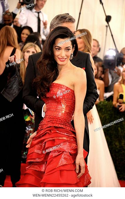 2015 Met Gala - Arrivals Featuring: Amal Alamuddin, George Clooney Where: Manhattan, New York, United States When: 05 May 2015 Credit: Rob Rich/WENN