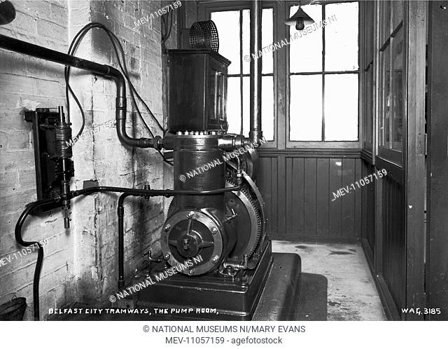 Belfast City Tramways, the Pump Room - a view of a large pump indoors. (Location: Northern Ireland: County Antrim: Belfast)