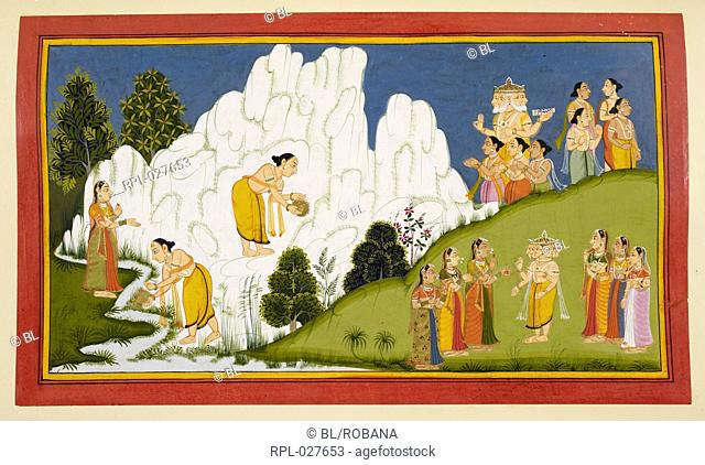 The birth of Karttikeya, In this folio, Agni is shown carrying Siva's seed and depositing it on the slopes of the Himalayas