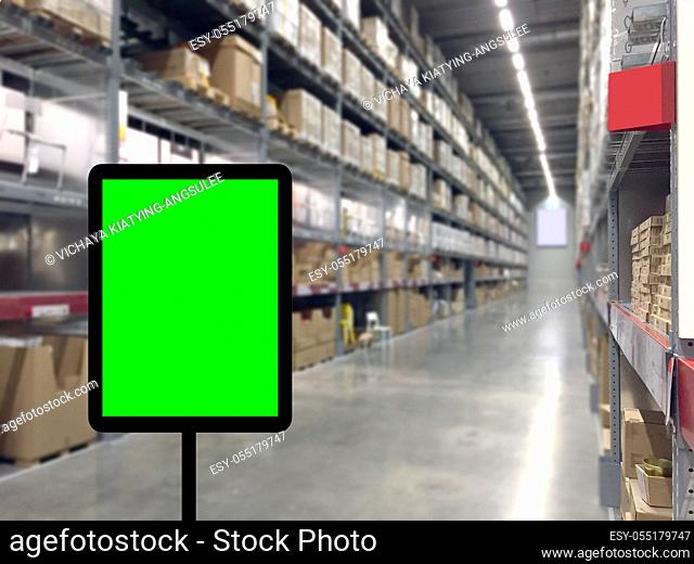 Abstrast Blurred background : Warehouse cargo with digital monitor