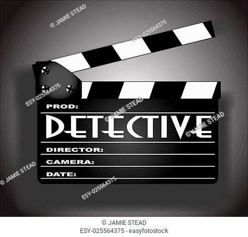 A typical movie clapperboard with the legend DETECTIVE in black and white