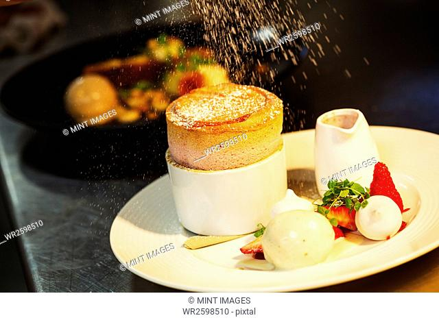 Close up of a souffle on a plate