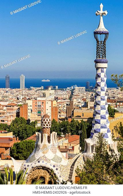 Spain, Catalonia, Barcelona, Park Guell designed by the Catalan architect Antoni Gaudi and listed as World Heritage by UNESCO
