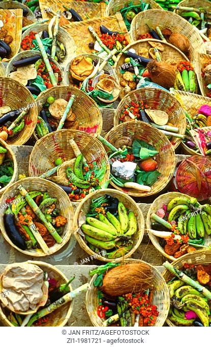 baskets with fruit for offering to the Gods in the Ganges in Varanasi, India