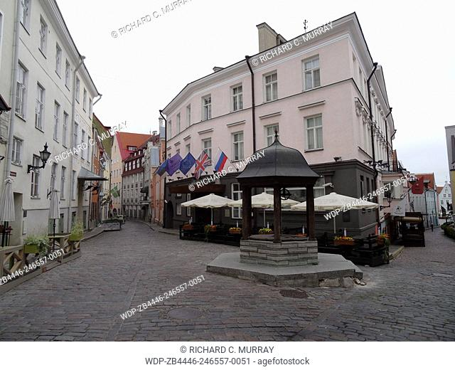 Tallinn Old Town Medieval Buildings Street Scene-Tallinn, Estonia