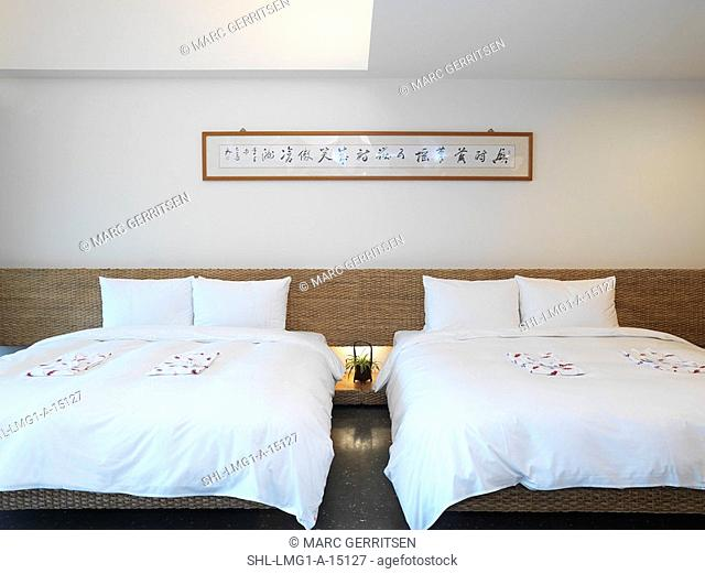 Symmetrical view of two neatly made beds