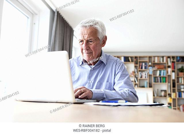 Portrait of senior man sitting at table using laptop