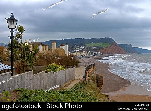 Seafront, beach and coastline of Sidmouth, a small popular south coast seaside town in Devon, south-west England