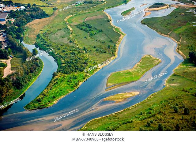 Aerial view, Lippe mouth, Lippe mouth delta, Lippe reconstruction, sand banks, Rhine, Wesel, Ruhr area, Lower Rhine, North Rhine-Westphalia, Germany