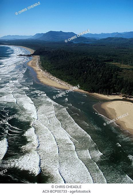 Aerial of Wickaninish Beach, Pacific Rim National Park, British Columbia, Canada