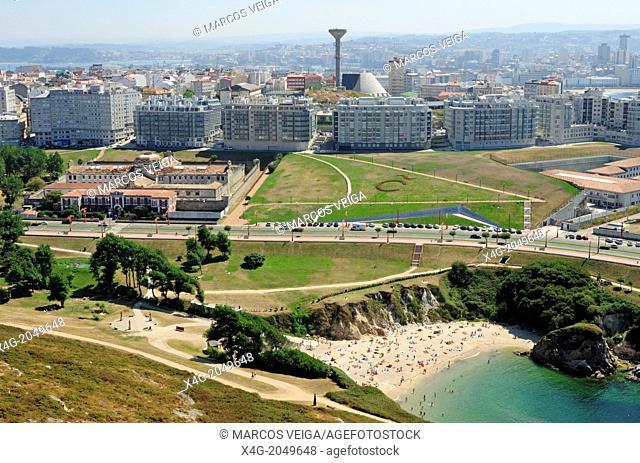 Cityscape of A Coruña and As Lapas beach. Galicia, Spain