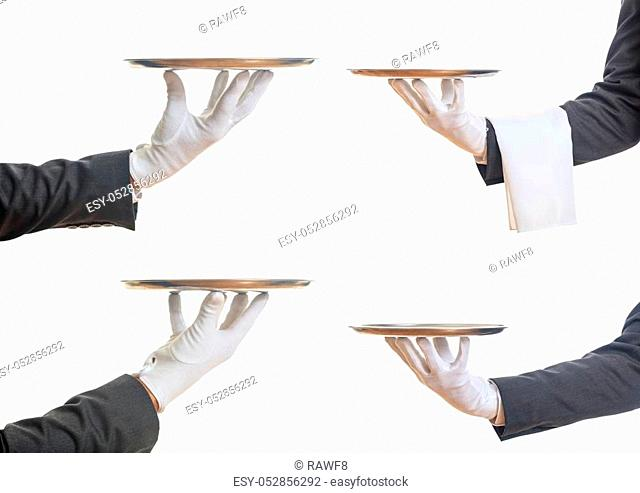 Waiters hands holding empty trays