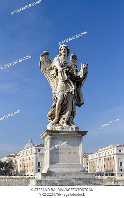 Bernini statue on sant' Angelo bridge , Rome, Italy