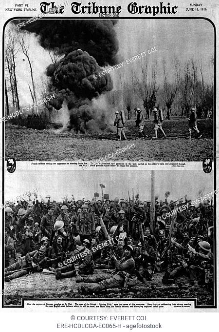 World War I, The Tribune Graphic, top: 'French soldiers testing new apparatus for shooting liquid fire', bottom: British soldiers