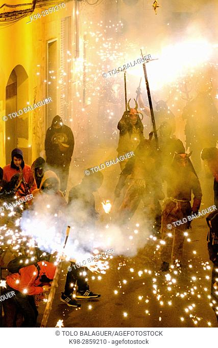 Fire devils dance in Llucmajor - Sant Antoni-, Mallorca, Balearic Islands, Spain