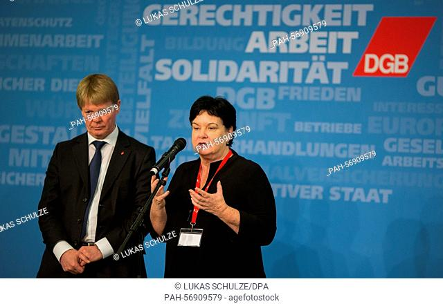 Reiner Hoffmann (L), President of the Confederation of German Trade Unions (DGB) and Sharan Burrow, General Secretary of the International Trade Union...
