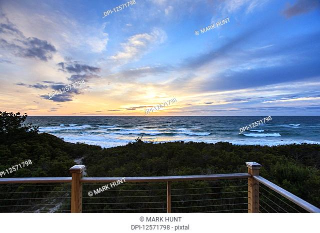 Sunrise over ocean at Crescent Beach at vacation home on Block Island, Rhode Island, USA