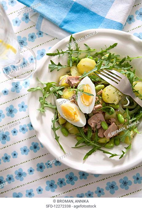 Salad with soy beans, potatoes, egg and tuna