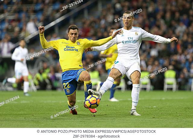 MADRID, SPAIN. November 05, 2017 - Ximo Navarro and Cristiano Ronaldo. Real Madrid defeated Las Palmas 3-0 with an spectacular goal from Asensio with Casemiro...