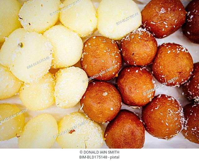 Close up of fried desserts